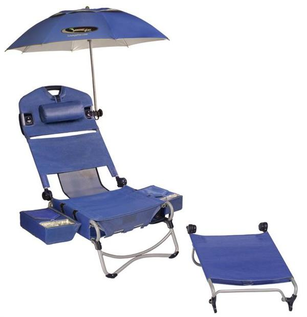 TWO Lounge Pac Chairs with Umbrella