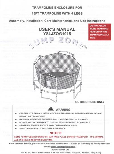 Paypal 1800 Number >> Combo Manual for the 15' JUMP ZONE Model YSLJZOG1015