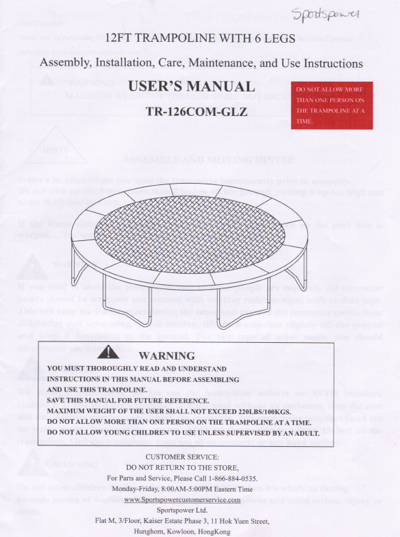 14 Jump zone Trampoline Manual
