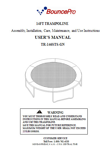 Manual For The 14 Bounce Pro Model Tr 146sts Gn Trampoline