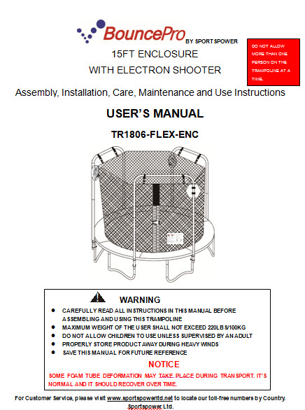 Enclosure Manual For The 15 Bounce Pro Model Tr1806 Flex Enc