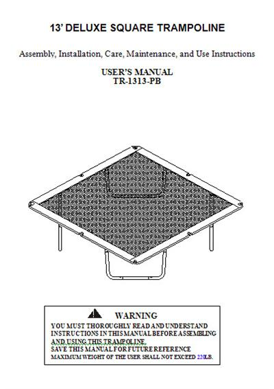Manual For The 13 Sportspower Trampoline Model Tr 1313 Pb